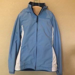 Lands' End blue white hooded jacket 10/12